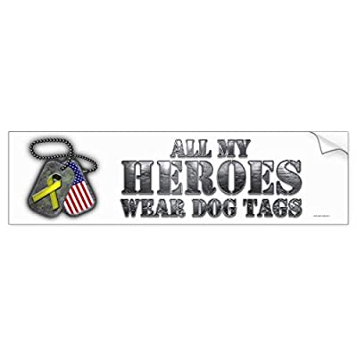 CR Pix All My Heroes Wear Dog Tags Bumper Sticker - 4.5 Inch Sticker Graphic - Auto Wall Laptop Cell Phone Bumper Window Decal Sticker: Kitchen & Dining