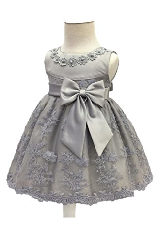 H.X Baby Girl's Newborn Bowknot Gauze Christening Baptism Dress Infant Flower Girls Wedding Dresses 8 Color (12M/10-13 Months, Grey)