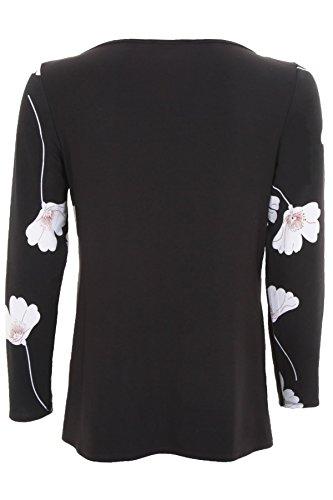 Floral Manga Top Sapphire Negro Asimétrico Blusa De Blanco Drapeado Estampado Cuello Forro Dama Flores Larga By Zafiro Boutique 44XFA