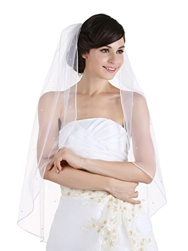 - 1T 1 Tier Rhinestone Crystal Rattail Edge Veil - Cathedral Length 108