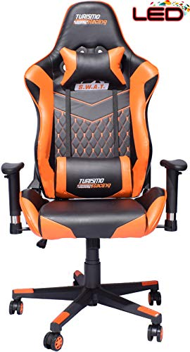 turismo racing s w a t series orange led gaming chair big and tall black and orange seat. Black Bedroom Furniture Sets. Home Design Ideas