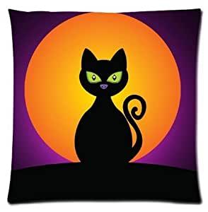 CCTUSGSH Lovely Cat Black Halloween Moon Cotton Throw Pillow Case Cushion Cover 16 X 16 Inches One Side