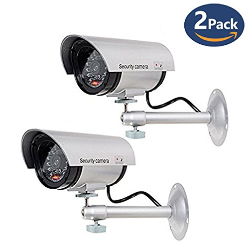 (CloverTale 2 Pack Fake Camera Dome Camera Dummy Fake Security CCTV Dome Camera Indoor Outdoor with Flashing Red LED Light Warning Security Alert(Battery Is NOT Included))