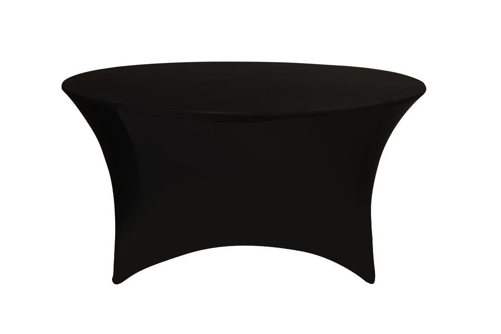 Your Chair Covers - Round Fitted Stretch Spandex Table Cover, Black, 5' L