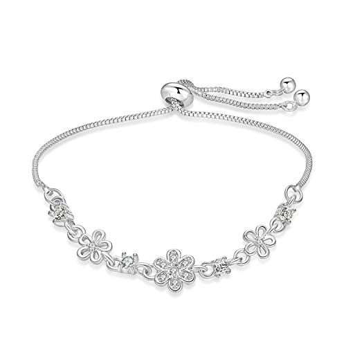 (BRIGHT MOON Adjustable Daisy Hollow Charm Bracelets for Woman Girls with Sparkling CZ Flowers and Humble Snake Chain(Silver))