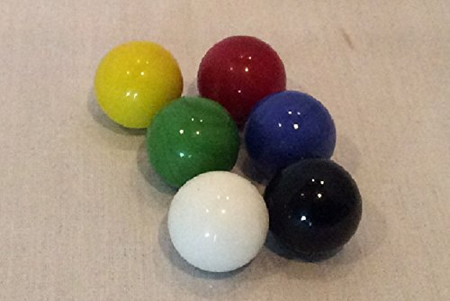 60 (10 ea. of red, blue, green, black, white & yellow) 1'' Game Marbles by Moon Marble