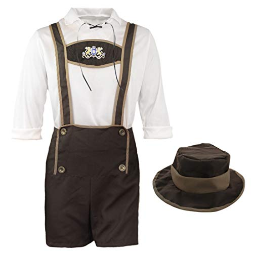 FEESHOW Adult Men Mr Oktoberfest German Lederhosen Costumes Beer Bavarian Guy Set Brown M -