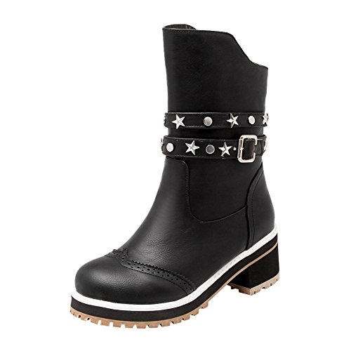 Carolbar Womens Zip Buckle Retro Moda Rivetto Con Tacco Medio Stivaletti Neri