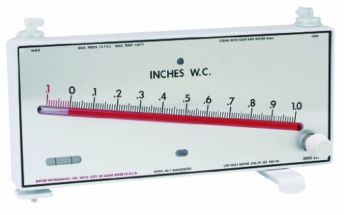 Dwyer Series Mark II 40-1-AV Molded Plastic Manometer, Inclined Scale, 0.1-0-1.1 inH2O Measuring Range, Red Gauge Fluid, 0.826 sp. gr.