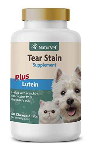 NaturVet - Tear Stain Plus Lutein - Eliminates Unsightly Tear Stains - Enhanced with Cranberry Extract, Calcium Ascorbate & Oregon Grape Root - for Dogs & Cats - 60 Tablets
