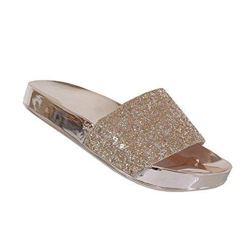Yoki Women's Metallic Shiny Plated Jelly Sole Glitter Upper Slide Slipper Rora-03 Sandals (7, Rose (Plated Slide)