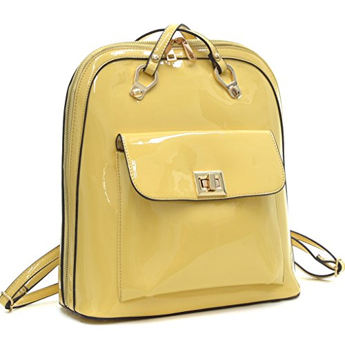 [Dasein Sleek Patent Leather Zip-Around Women, Girl, Student Backpack School Bag, Travel Shoulder Bag - Yellow] (Patent Leather Backpack)