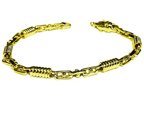 14kt-Solid-Yellow-gold-Handmade-Fashion-Link-Mens-Bracelet-95-5-MM-21-grams
