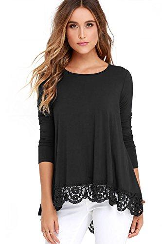 (FISOUL Women's Tops Long Sleeve Lace Trim O-Neck A-Line Tunic Tops XX-Large Black)