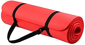 BalanceFrom Go Yoga All Purpose Anti-Tear Exercise Yoga Mat with Carrying Strap, Red