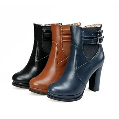 WSX&PLM Da donnaFormale Casual-Stivali-Quadrato-Finta pelle-Nero Marrone Blu scuro , brown , us10.5 / eu42 / uk8.5 / cn43