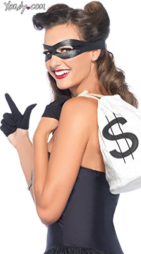 [Leg Avenue Women's 3 Piece Bandit Costume Kit, Black, One Size] (Robber Costume Halloween)