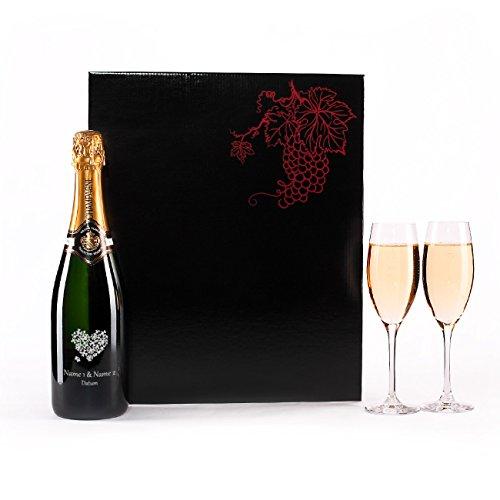 Herz & Heim® Hochzeit Champagnerset mit 2 Champagnergläser, gratis Gravur