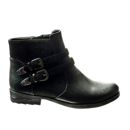 Angkorly Damen Schuhe Stiefeletten - Chelsea Boots - Bi-Material - Schleife - Metallisch Blockabsatz 3 cm - Schwarz