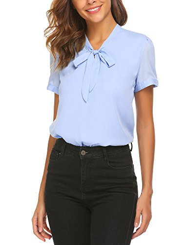 ACEVOG Womens Bow Tie Neck Short Sleeve Casual Work Chiffon Blouse Tops, Light Blue-short Sleeve, Medium Blue Short Sleeves Bow