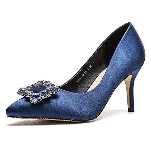 Boda Fiesta Corte Alto Hlg Pie Puntiagudo Blue Zapatos Tacón Las De Dedo Vestido Del Mujeres w1pHqO