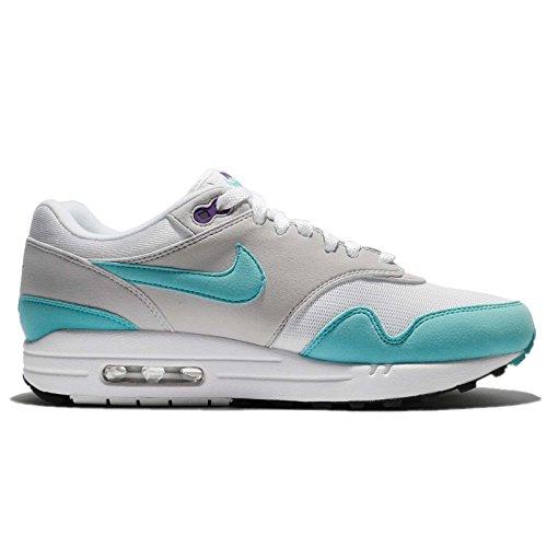Nike Mens Air Max 1 ° Anniversario, Bianco / Aqua-neutral Grigio-nero Bianco / Acqua / Grigio Neutro / Nero