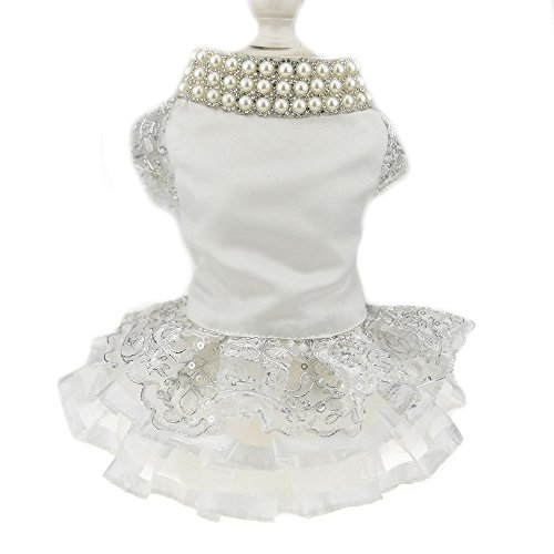 Luxury Lace Pearl Dog Dress for Cat Pet Dog Skirt...