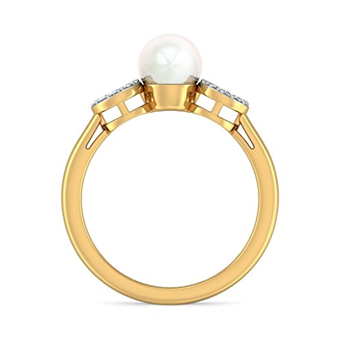 14K Or jaune, 0,12carat Diamant Blanc (IJ | SI) Blanc perle et diamant Bague