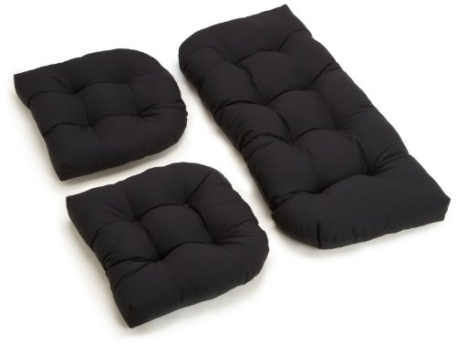 Blazing Needles Twill Settee Group Cushions, Black, Set of 3 (Cushions Black Patio)