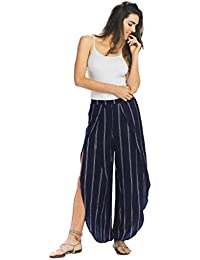 Women's Striped Pants With Overlay Legs