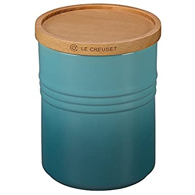Le Creuset of America 5 1/2  Canister with Wood Lid, 2 1/2 quart, Caribbean