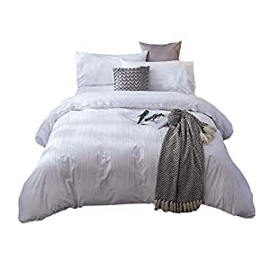 Merryfeel 100% Cotton Embroidery Duvet Cover Set- White- Full/Queen