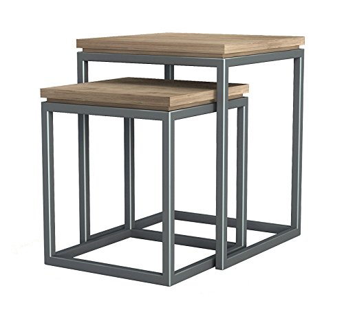 ASTA Teak and Iron Nesting Tables, Set of 2 - Simplicity, TI-302 (Nesting Square Tables Iron)
