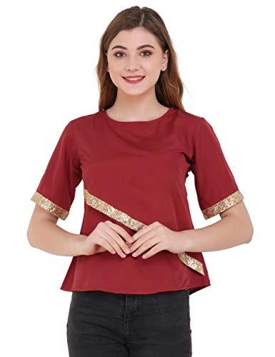 UNFAKENOWCasual Half Sleeve Embellished Women Maroon Top