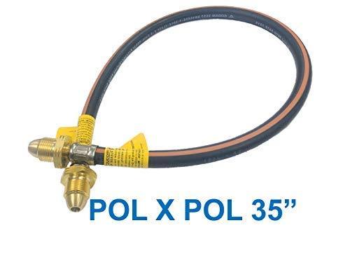 LPG FLEXIBLE POL GAS PIPE 35 FOR LP PROPANE BOTTLE CONNECTOR PIPE POL X POL END