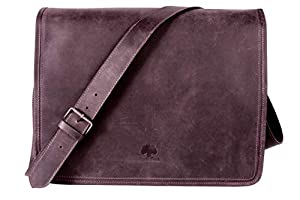 Rustic Town 15 inch Vintage Crossbody Genuine Leather Laptop Messenger Bag