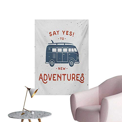 Anzhutwelve Vintage Wall Sticker Decals New Adventures Typography with Little Van Hippie Lifestyle Free Spirit PrintCadet Blue White W32 xL36 Poster Paper ()