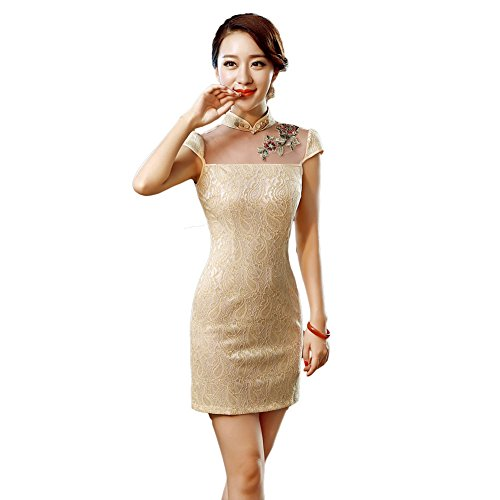EXCELLANYARD Women's Lace Qipao Cheongsam Chinese Dress 6 Yellow