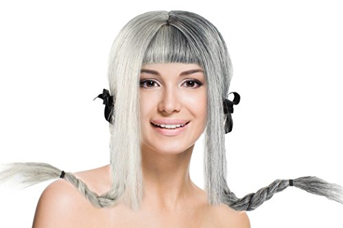 Double Braids Wig with Bangs Grey Hairpiece for Cosplay Pop Singer Costume Party ()