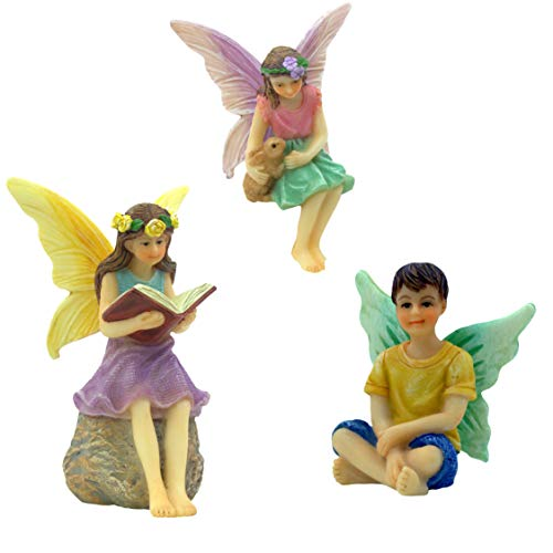 PRETMANNS Fairy Garden Fairies - 3 Miniature Fairy Figurines - A Book Reading Fairy, Fairy Holding a Bunny and a Boy Fairy - Forest Fairies Fairy Garden Supplies 3 Pieces (Fairy Figurines Small)