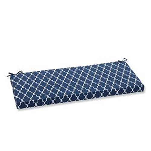 CC Outdoor Living 45' Moroccan Gate Navy Blue and White Bench Cushion
