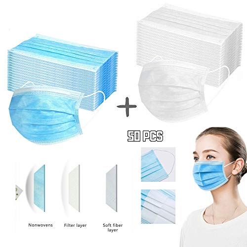 Beauteye Adults Unisex Blue+White Combination Disposable Three-Layer Non-Woven Windproof Dustproof Anti Fog Anti-Pollen Allergy Face Safety Protective Cover Multi Optional (50 PCS, Blue+White)