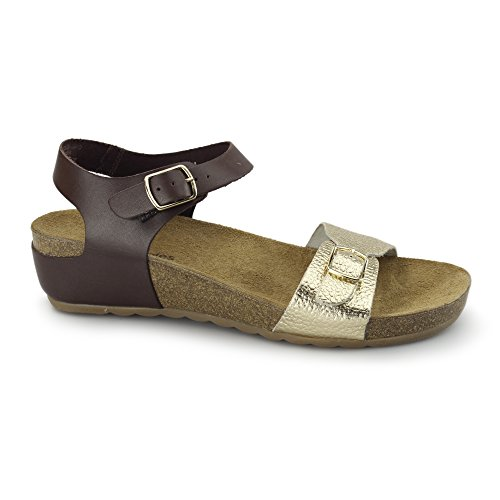 Hush Puppies TEASE SOOTHE Damen Flache Sandalen Braun/Gold UK 8
