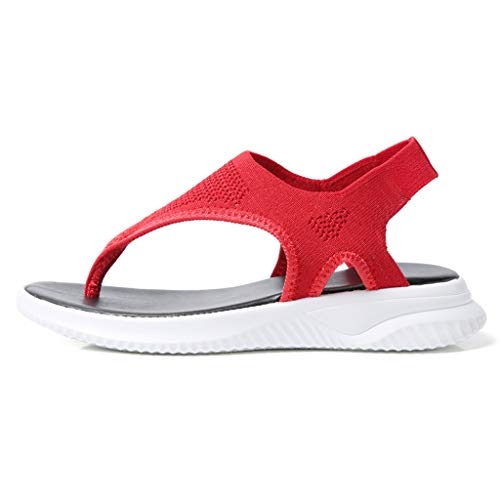 - Orfilaly Women Platform Sport Sandals - Plus Size Casual Summer Thong Flip Flop Shoes Walking Running Roman Sandal Size US 5-10 Red