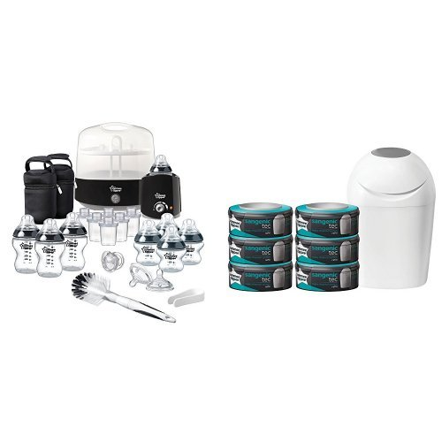 Tommee Tippee Complete Feeding Set (Black, Closer to Nature) with Sangenic Tec Nappy Disposal Starter Pack Bundle