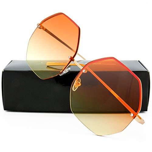 The Fresh Fashion Designer Huge Hexagon Metal frame Ocean Colored Lens Sunglasses Gift Box (Gold, Orange/Yellow) ()