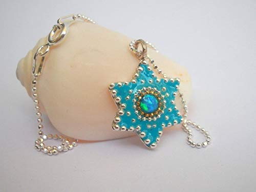 Dainty Sterling Silver Star of David Pendant Necklace inlaid with Turquoise Opal, Unique Everyday Handmade Designer Jewelry Gift for Girls and Women