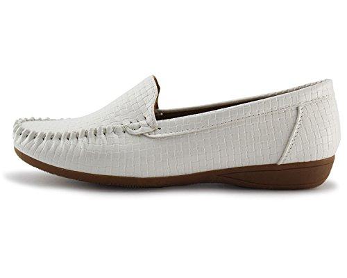 Mocasines Slip-on Para Mujer De Jabasic Zapatos De Conducción Planos Y Lisos Forrados En Cuero Blanco
