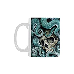 Octopus Skull Personalized Funny Healthy Ceramic Classical White Mug, Coffee,Water,Tea Cup for Women/Men