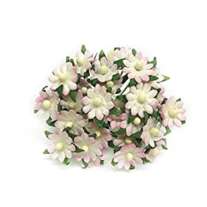 1cm Pink White Paper Daisies, Mulberry Paper Flowers, Miniature Flowers For Crafts, Mulberry Paper Daisy, Paper Flower, Artificial Flowers, 50 Pieces 55